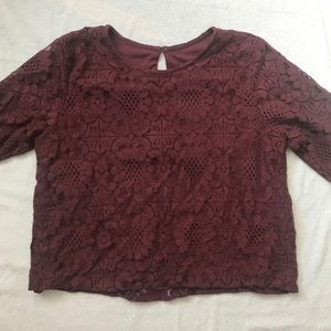Maroon Lace Short Sleeve Top